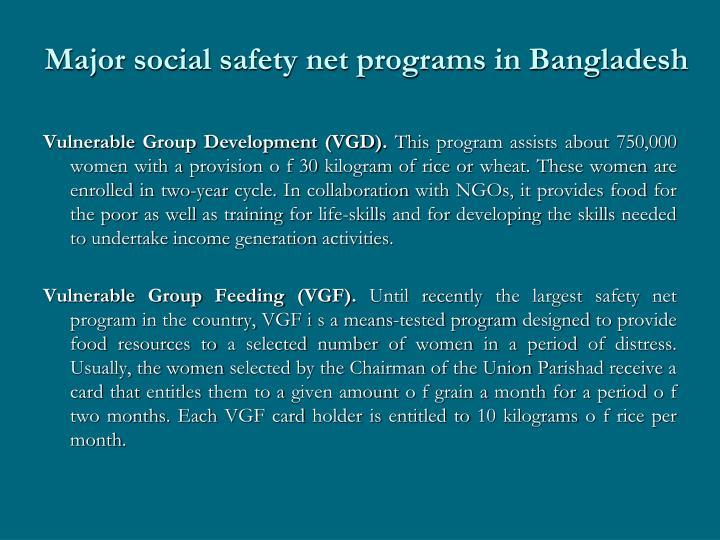 Major social safety net programs in Bangladesh
