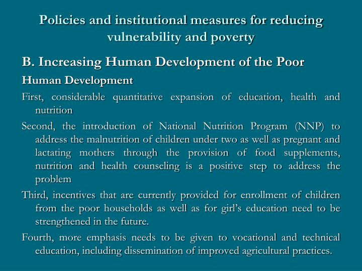 Policies and institutional measures for reducing vulnerability and poverty