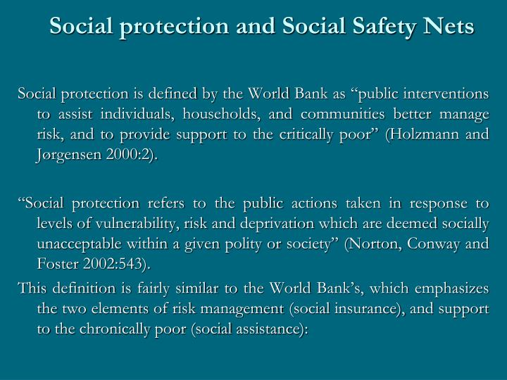 Social protection and Social Safety Nets
