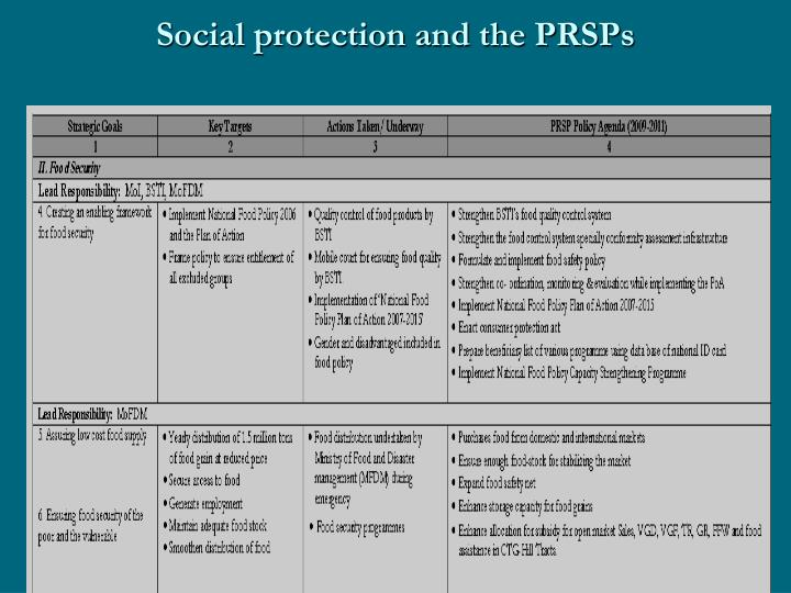 Social protection and the PRSPs