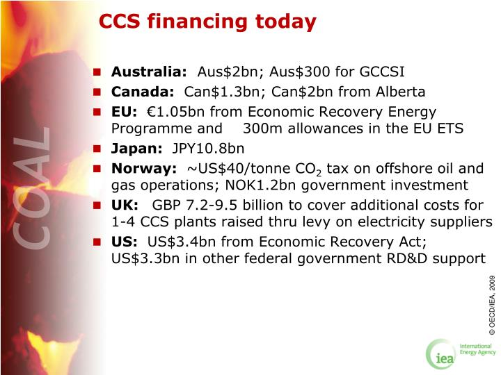 CCS financing today