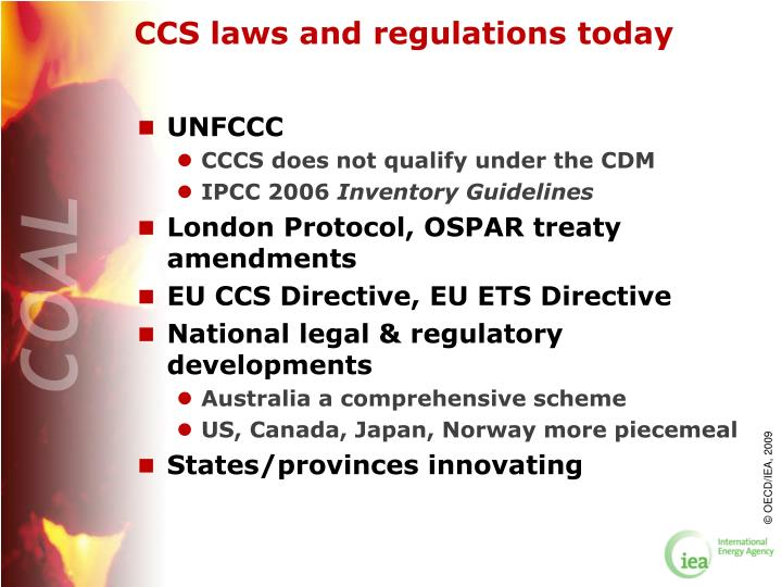 CCS laws and regulations today