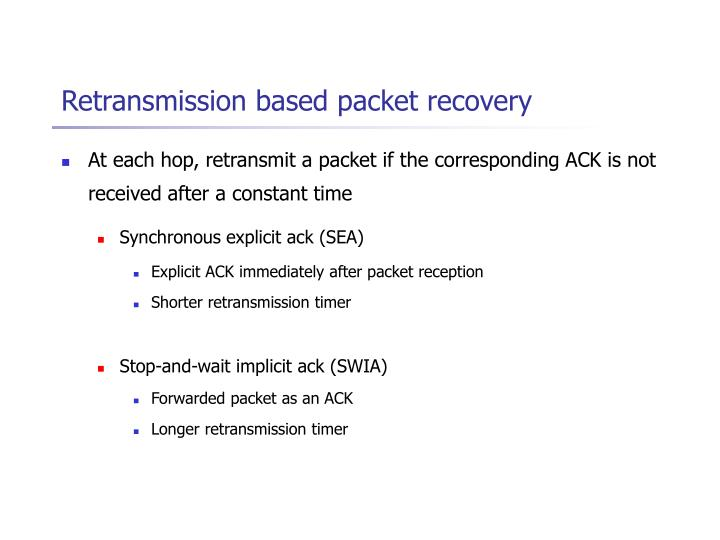 Retransmission based packet recovery