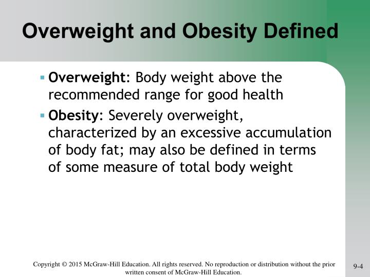 Overweight and Obesity Defined
