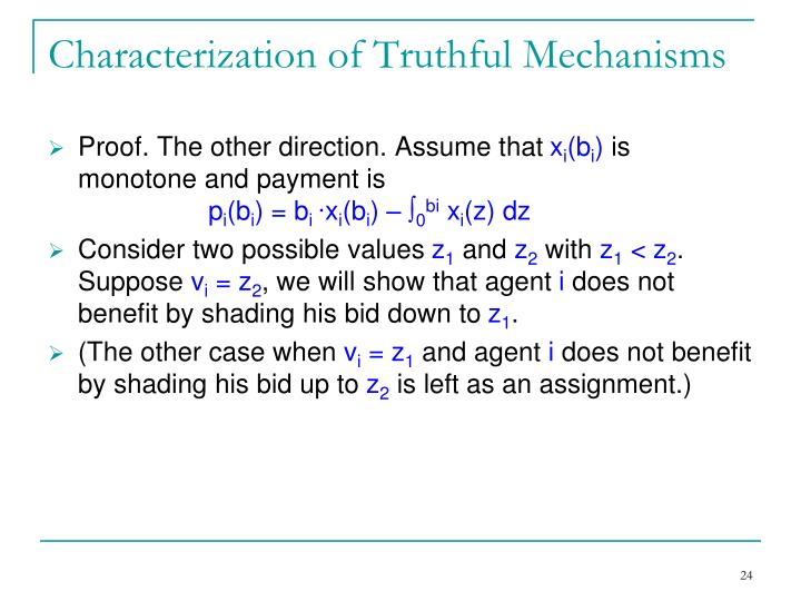Characterization of Truthful Mechanisms