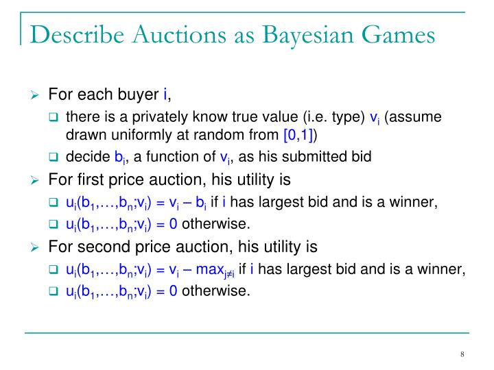 Describe Auctions as Bayesian Games