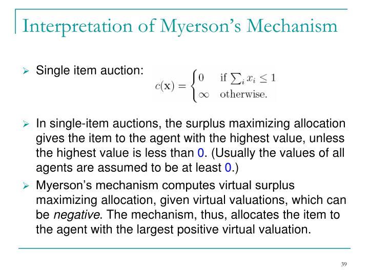 Interpretation of Myerson's Mechanism