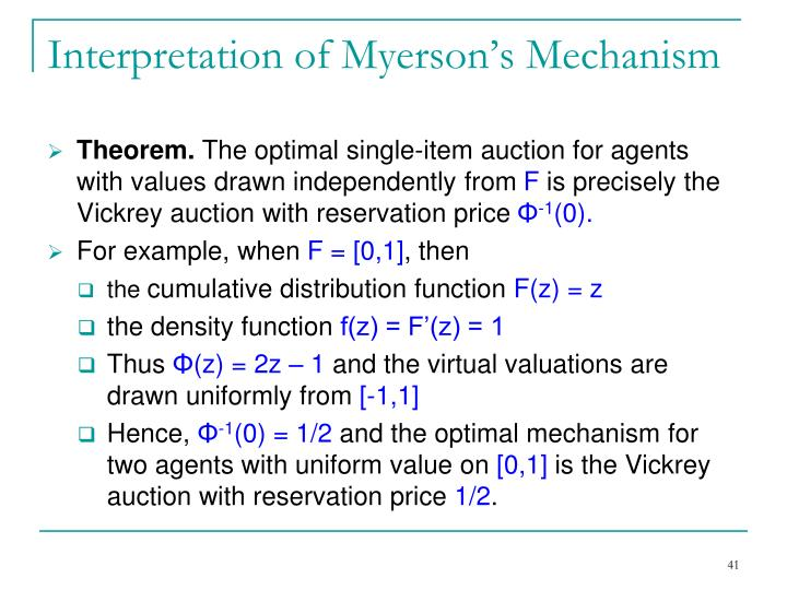 Interpretation of Myerson's Mechanism