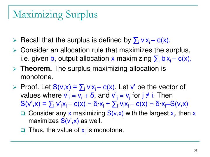 Maximizing Surplus