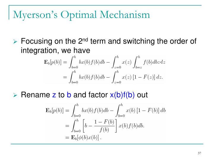 Myerson's Optimal Mechanism