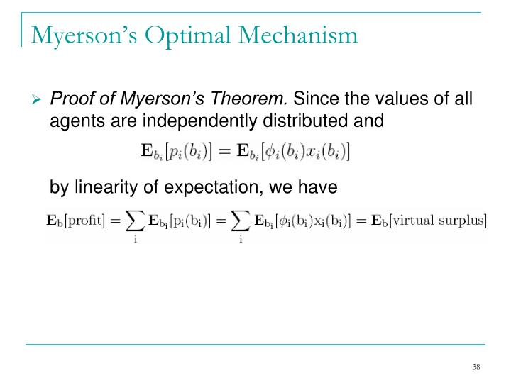 Myerson's Optimal Mechanism