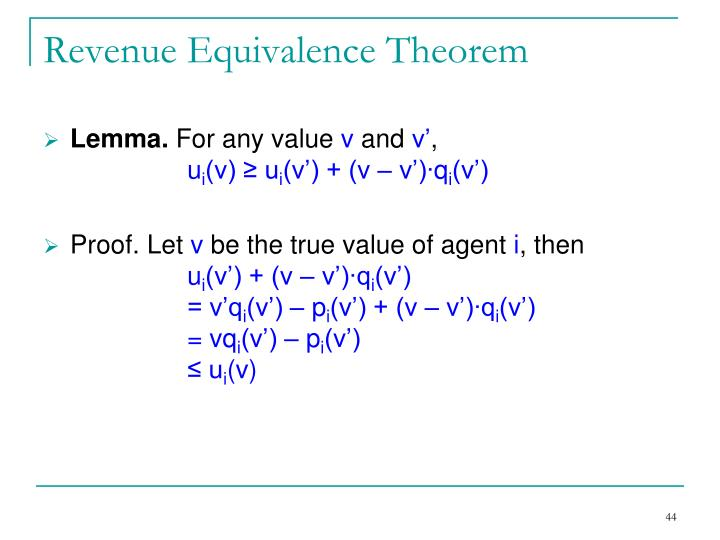 Revenue Equivalence Theorem