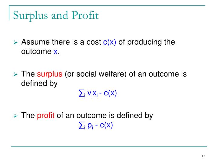 Surplus and Profit