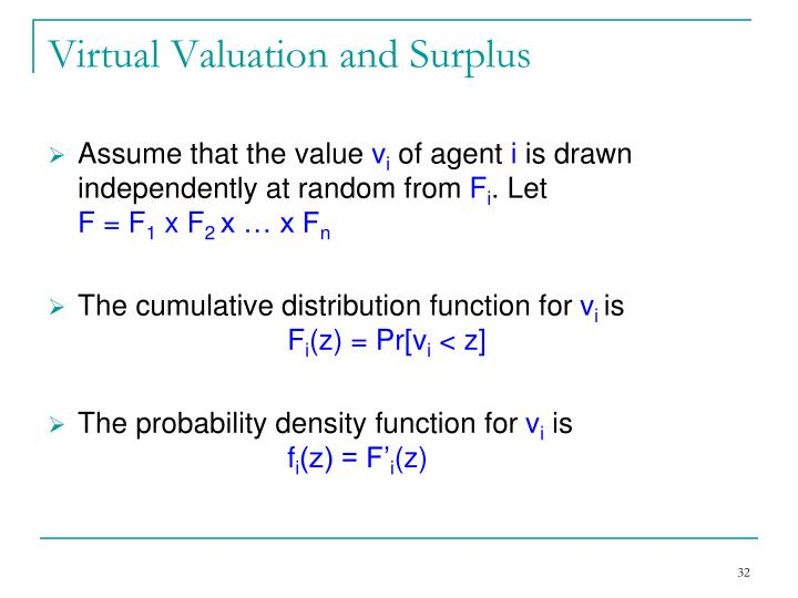 Virtual Valuation and Surplus