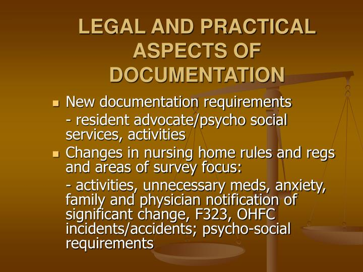 LEGAL AND PRACTICAL ASPECTS OF DOCUMENTATION