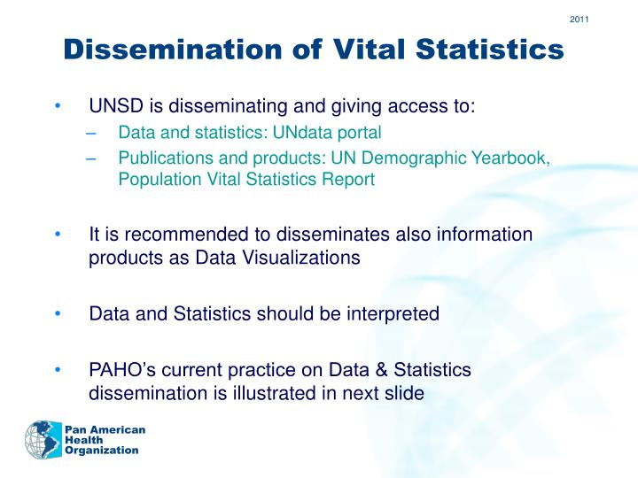 Dissemination of Vital Statistics
