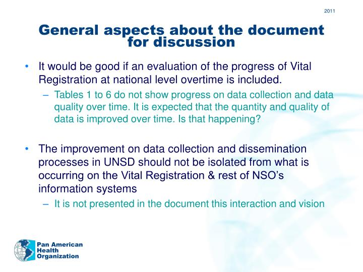 General aspects about the document for discussion