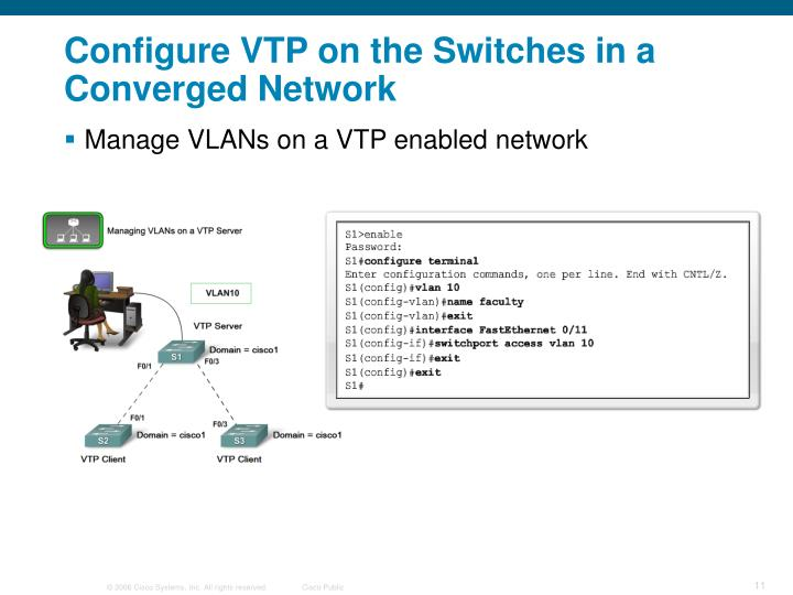 Configure VTP on the Switches in a Converged Network