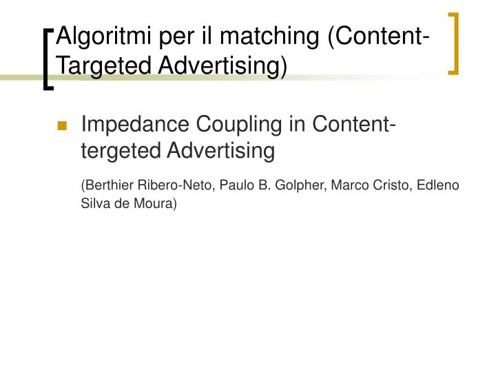 Algoritmi per il matching (Content-Targeted Advertising)
