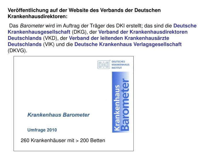 Veröffentlichung auf der Website des Verbands der Deutschen Krankenhausdirektoren: