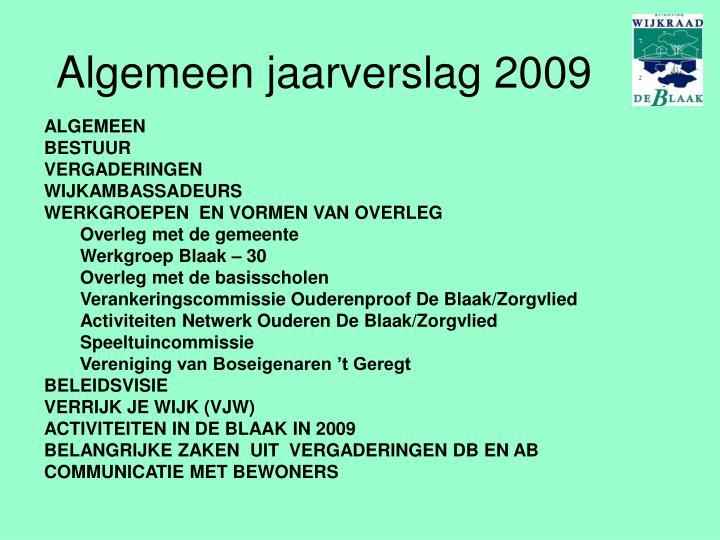 Algemeen jaarverslag 2009