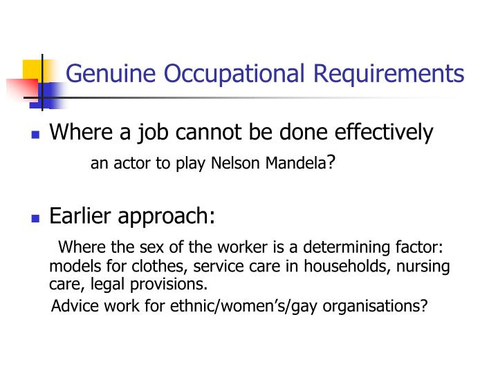 Genuine Occupational Requirements