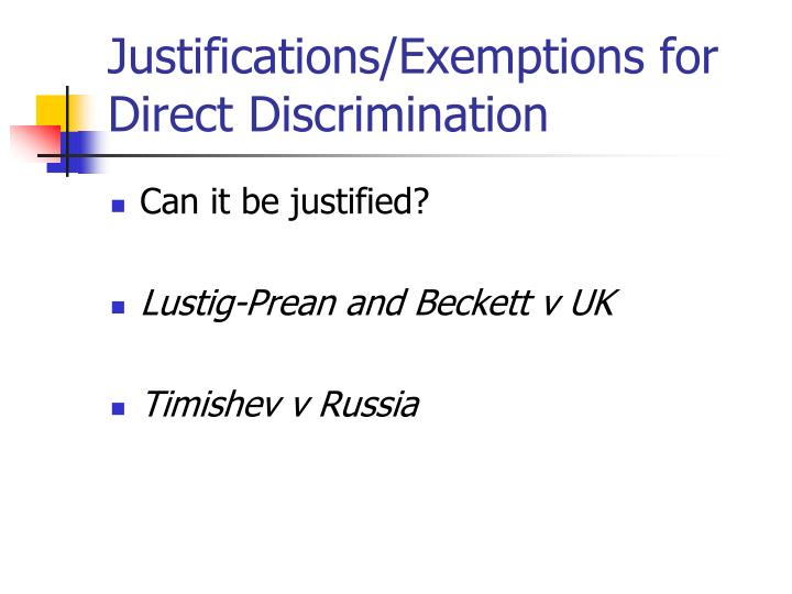 Justifications/Exemptions for Direct Discrimination