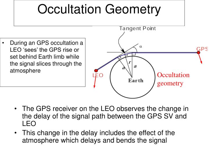 During an GPS occultation a LEO 'sees' the GPS rise or set behind Earth limb while the signal slices through the atmosphere