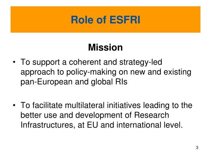 Role of ESFRI