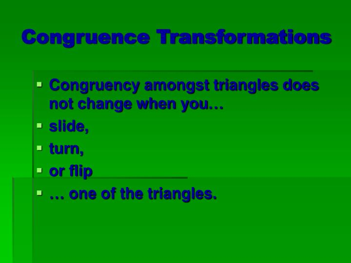Congruence Transformations