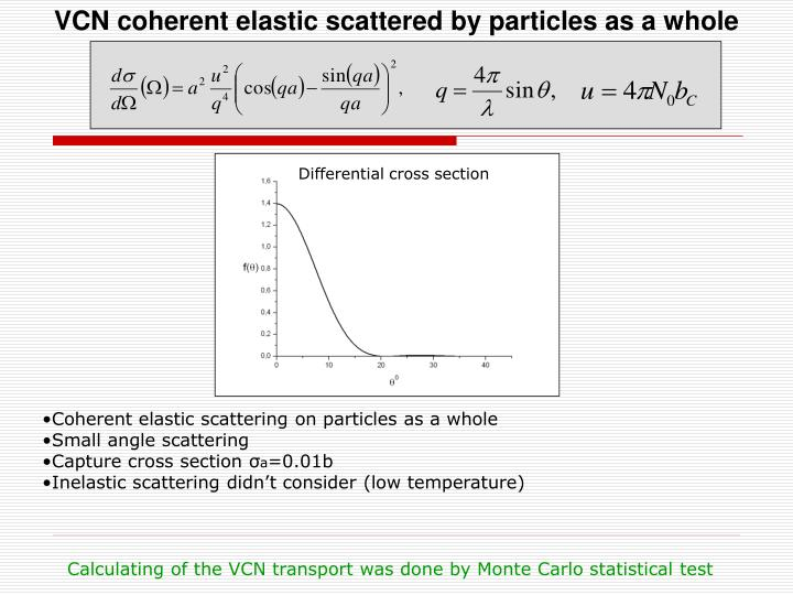 VCN coherent elastic scattered by particles as a whole