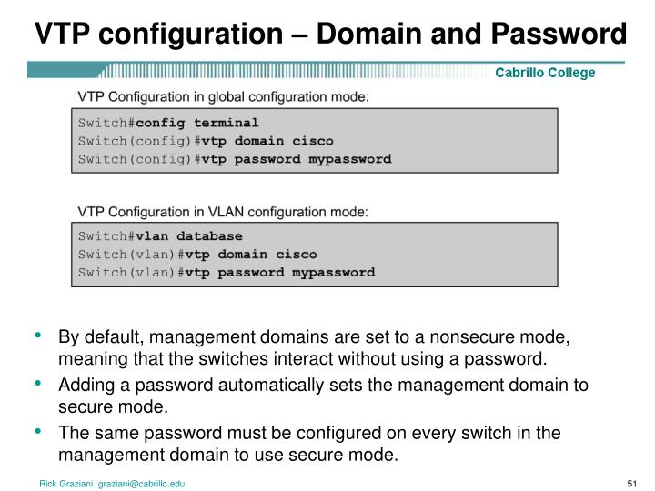 VTP configuration – Domain and Password
