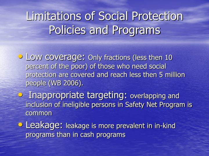 Limitations of Social Protection Policies and Programs