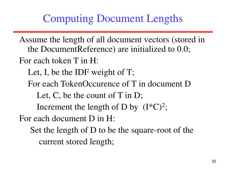 Computing Document Lengths