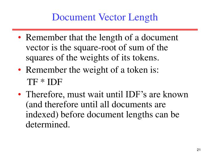Document Vector Length