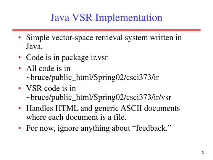 Java vsr implementation