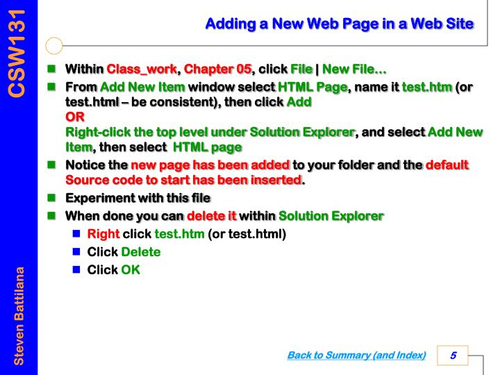 Adding a New Web Page in a Web Site