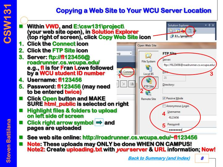 Copying a Web Site to Your WCU Server Location