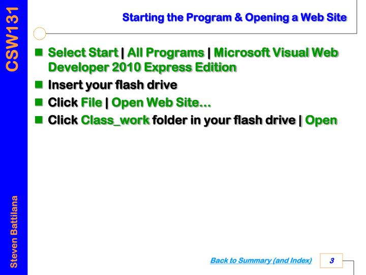 Starting the program opening a web site