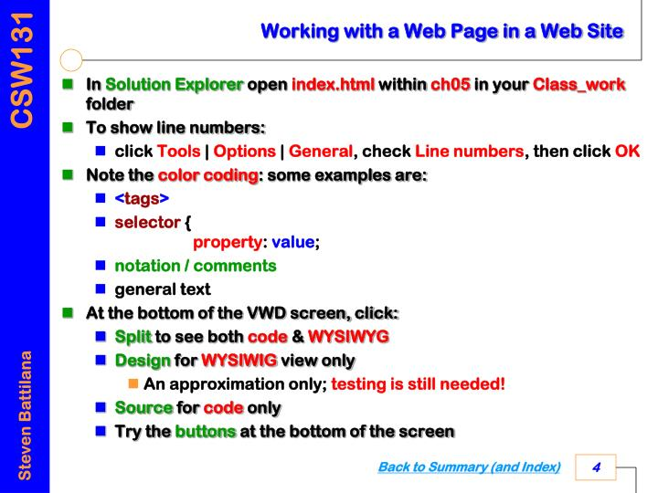Working with a Web Page in a Web Site