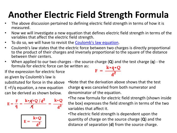 Another Electric Field Strength Formula