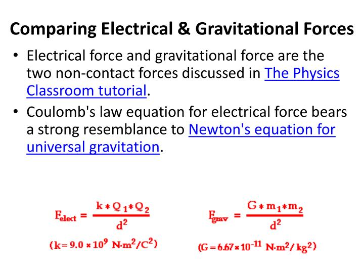 Comparing Electrical & Gravitational Forces