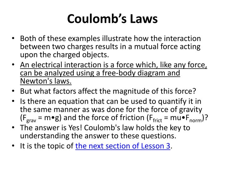 Coulomb's Laws