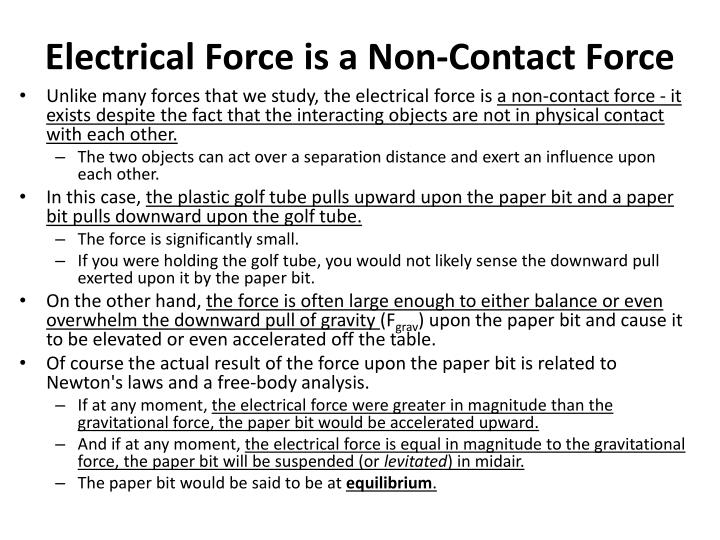Electrical Force is a Non-Contact Force