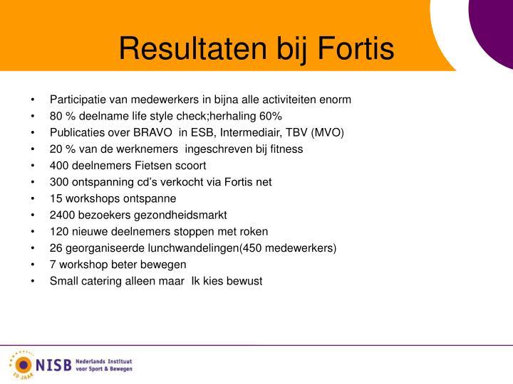Resultaten bij Fortis