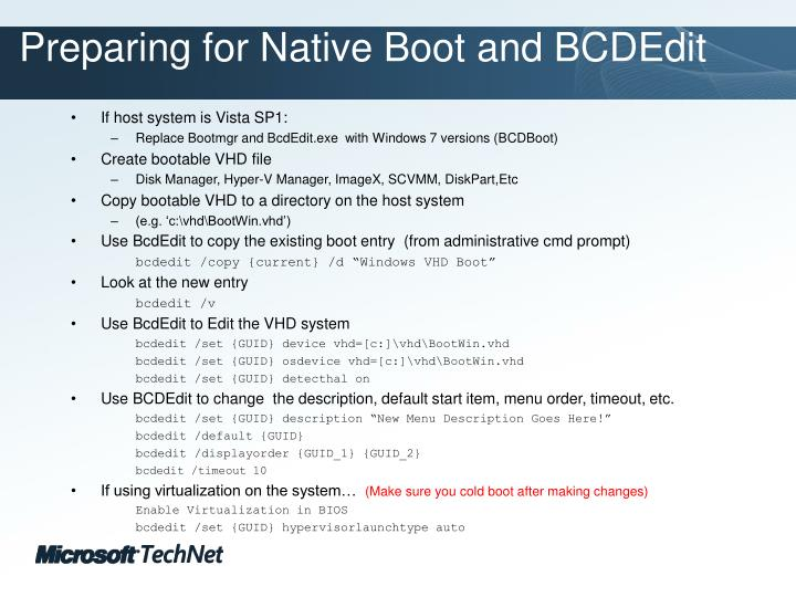 Preparing for Native Boot and BCDEdit