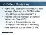 vhd boot guidelines