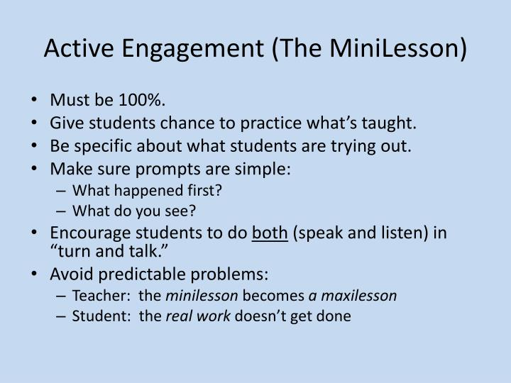 Active Engagement (The MiniLesson)