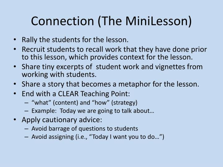 Connection (The MiniLesson)