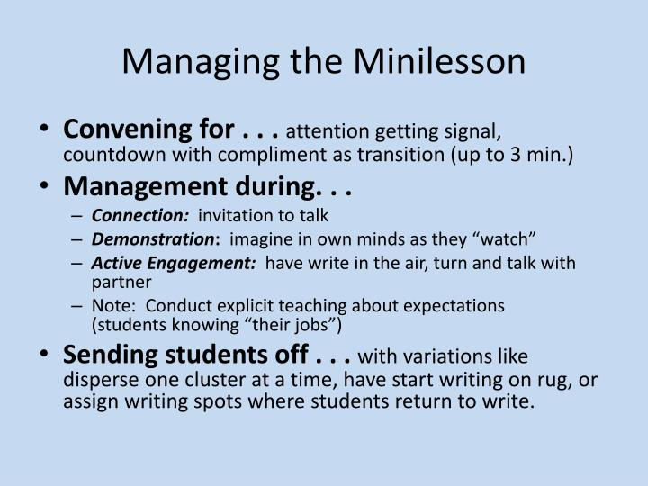Managing the Minilesson